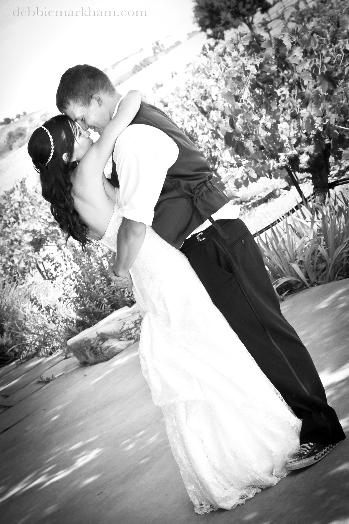 Cambria Photographer Debbie Markham-Paso Robles Wine Country Wedding at Castoro Winery-Bride and Groom Dancing Outdoor in Vineyard