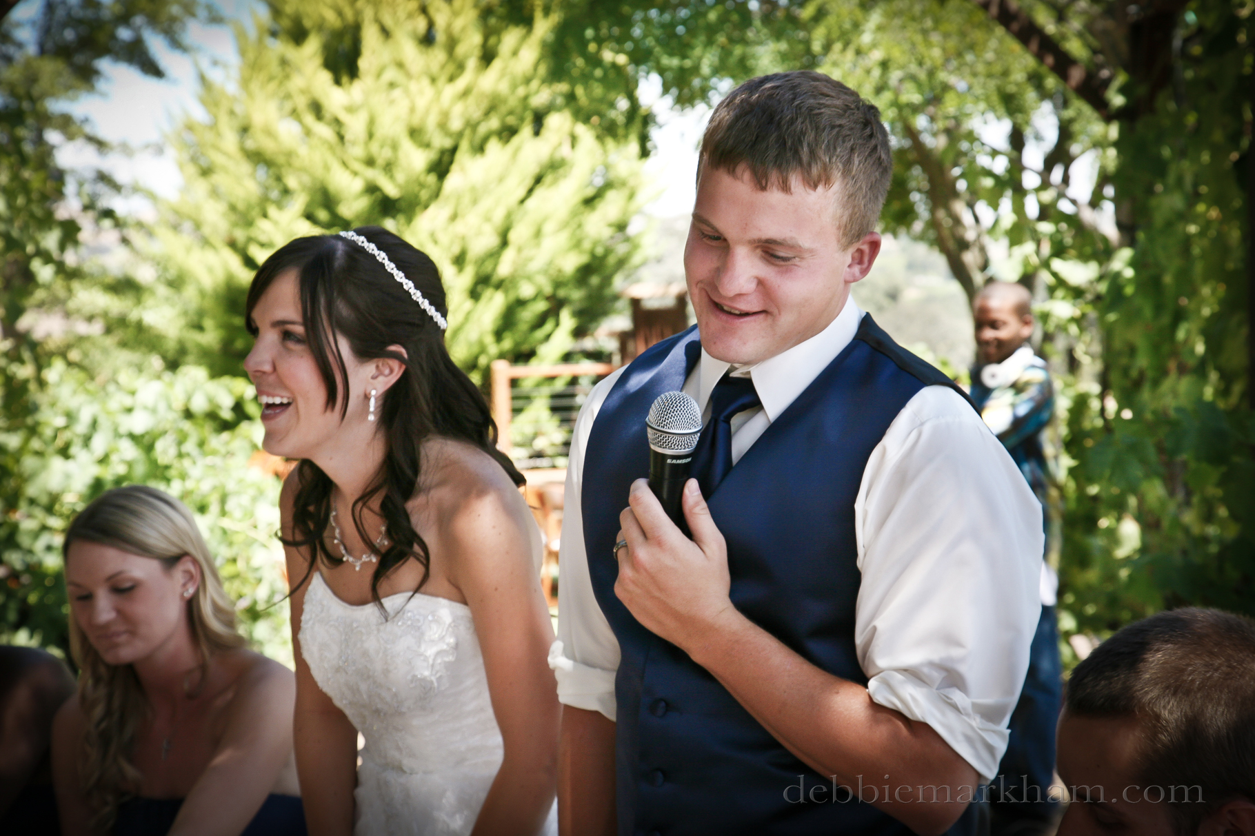 Cambria Photographer Debbie Markham-Paso Robles Wine Country Wedding at Castoro Winery-Groom speach