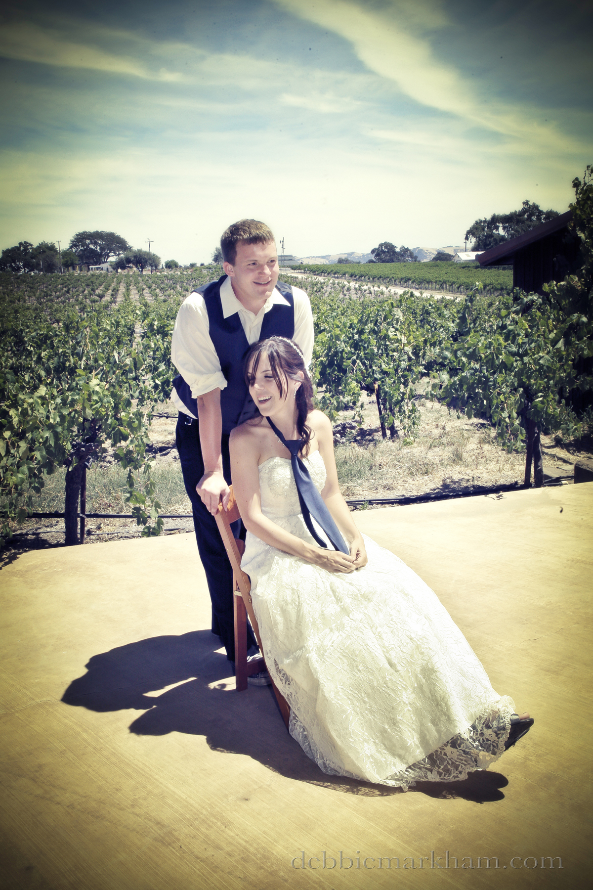 Cambria Photographer Debbie Markham-Paso Robles Wine Country Wedding at Castoro Winery-bride groom vintage edit