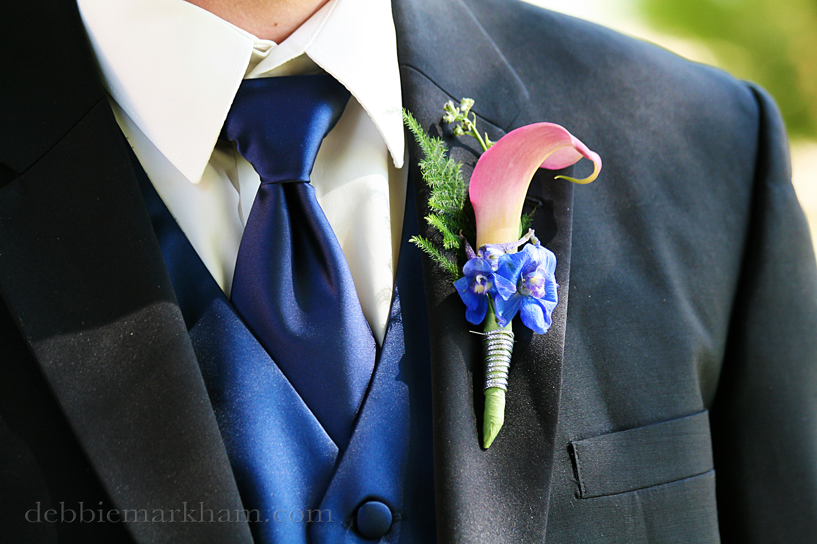 Cambria Photographer Debbie Markham-Professional Wedding Photos at Castoro Winery - Grooms boutonniere