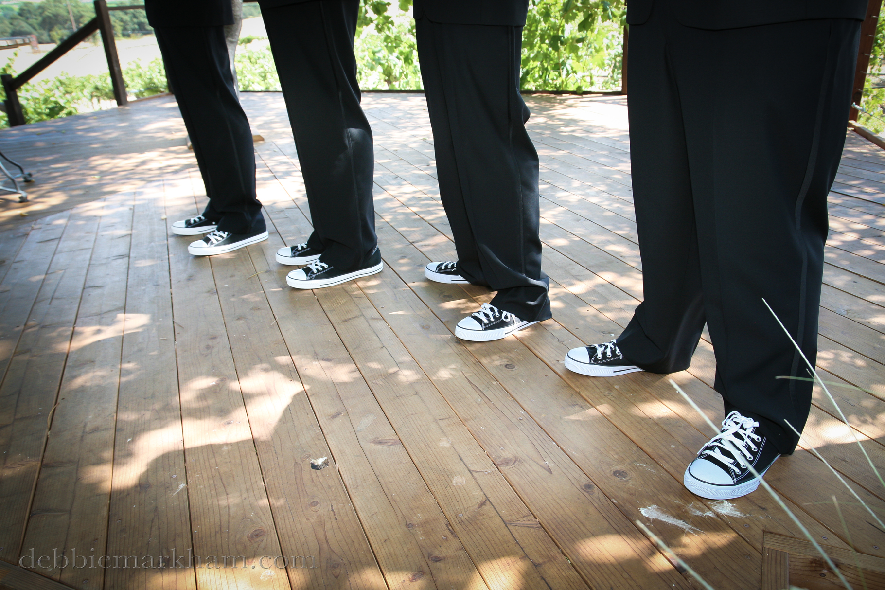 Cambria Photographer Debbie Markham-Professional Wedding Photos at Castoro Winery - Vineyards Outdoor Grooms Black Converse Shoes