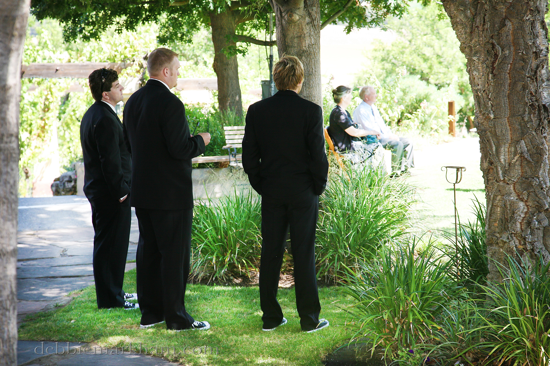 Cambria Photographer Debbie Markham-Professional Wedding Photos at Castoro Winery - Vineyards Outdoor-groomsmen waiting