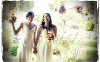 Same Sex Winery Wedding Photo by Cambria Wedding Photographer with border