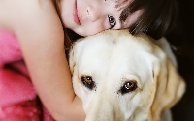 debbie markham family photographer - Girl with her Mom's Seeing Eye Dog