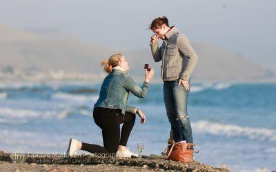 Surprise marriage Proposal_Cayucos_CA_Beach_California_engagement photographer_Debbie Markham