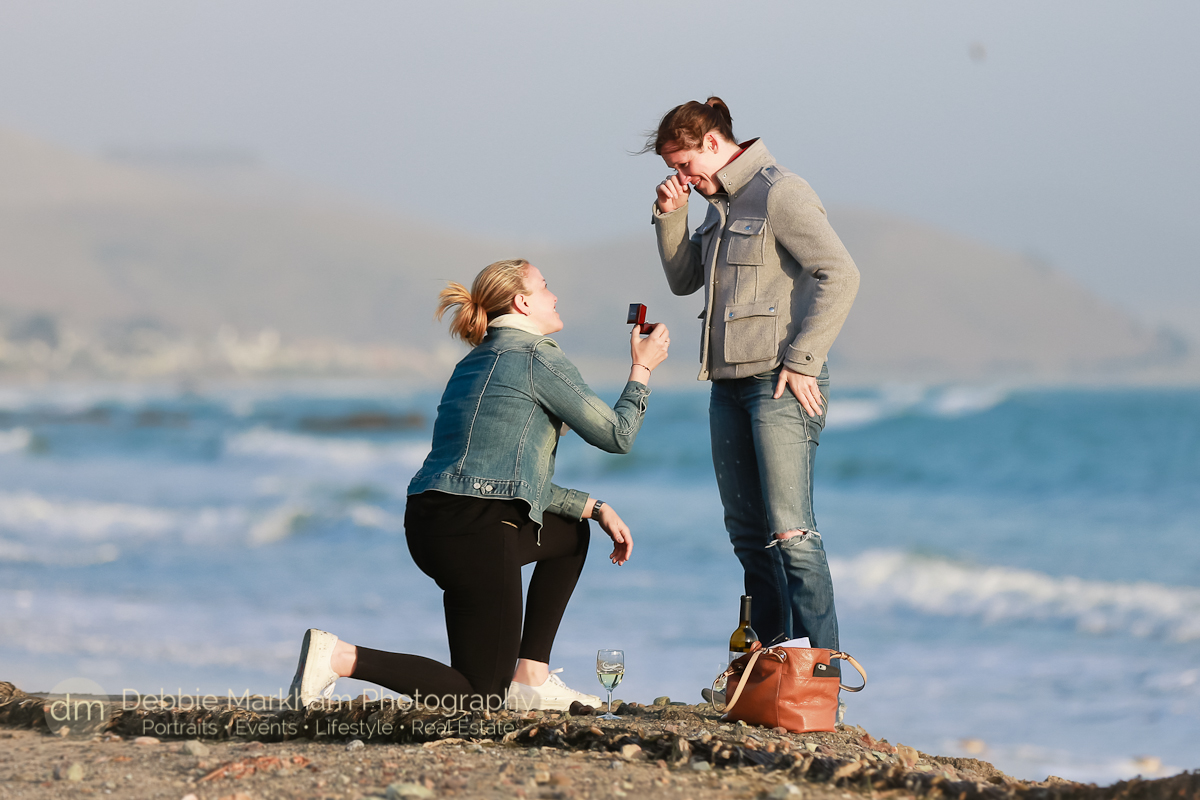 Surprise Marriage Proposal_Cayucos_CA_Beach_California_engagement photographer_Debbie Markham