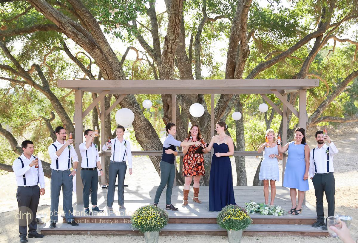Beer Toasting in Ceremony_Navy Wedding Dress_LGBT Wedding_Central Coast_California_Dancing Deer Farm_Templeton_Destination LGBT Wedding-4291