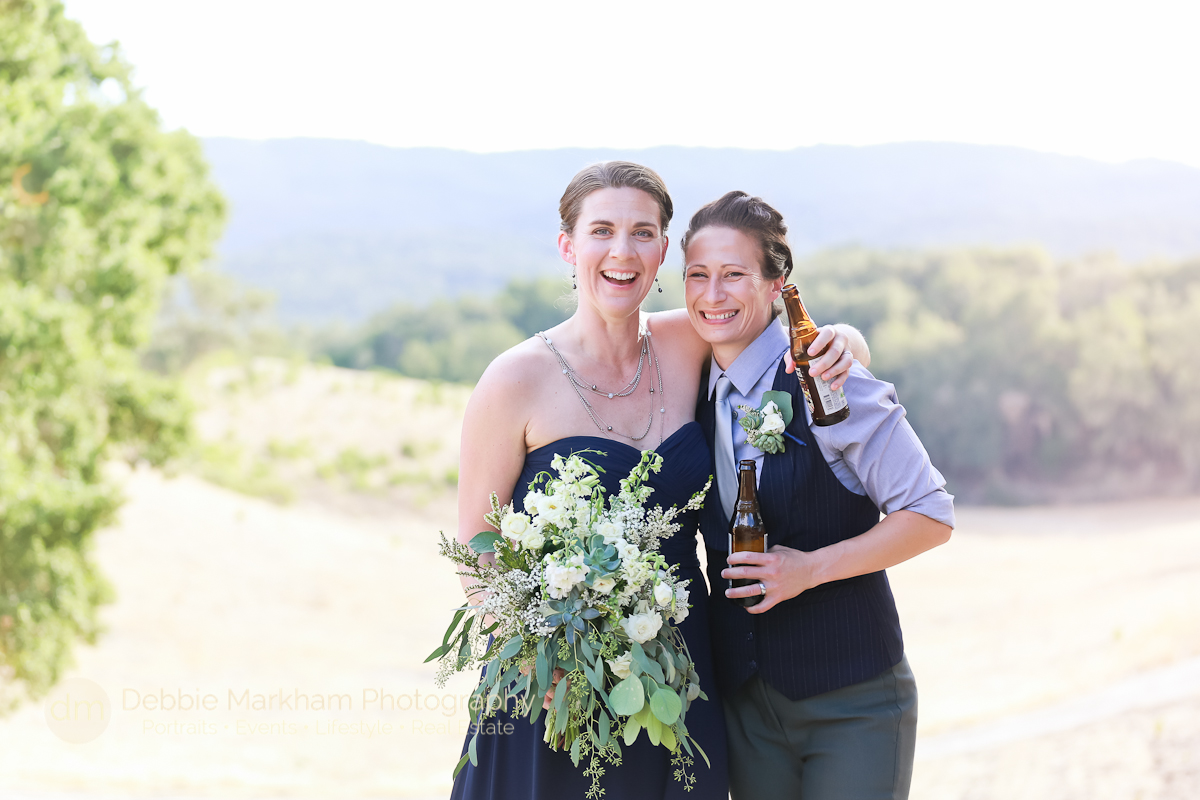 Beer Toasting_Navy Wedding Dress_LGBT Wedding_Central Coast_California_Dancing Deer Farm_Templeton_Destination LGBT Wedding_Photographer Debbie Markham