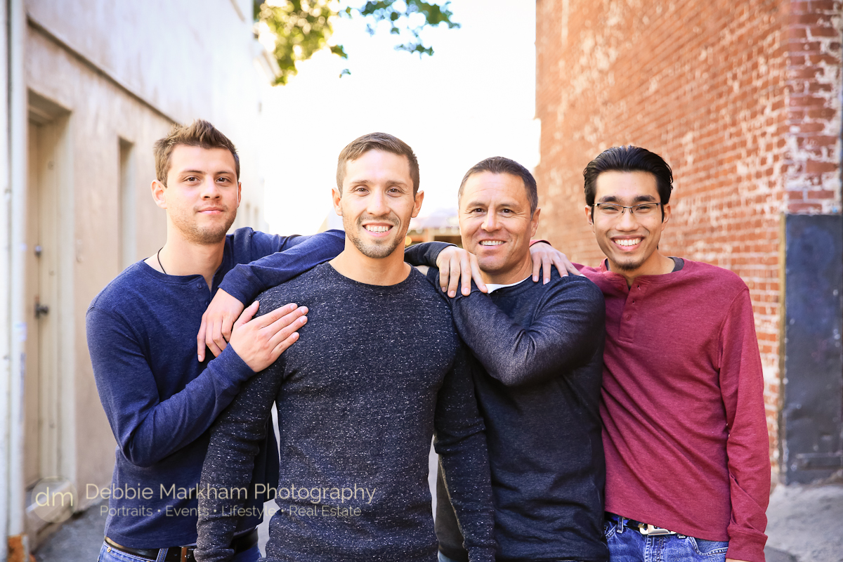 San Luis Obispo Family Photographer_Debbie Markham Photography_Central Coast_California_Fun Holiday Card Photo_Dad Sons