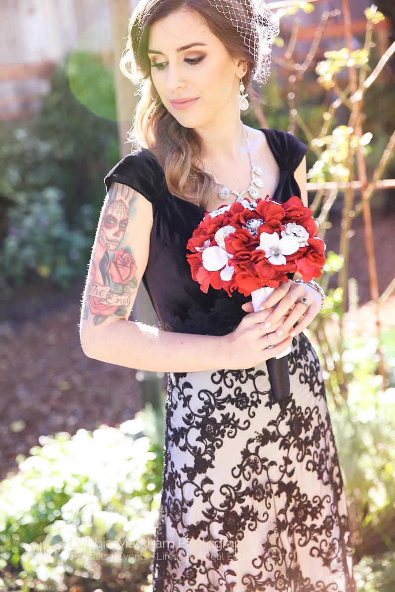 Portraits_Black Dress_Red Flowers_Unconventional_Wedding_Cambria_CA_Central Coast_Photographer_Robin's_Outdoor_Venue-7652