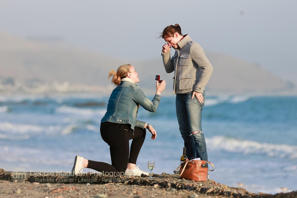 Surprise Marriage Proposal Cayucos Ca Beach California Engagement Photographer Debbie Markham